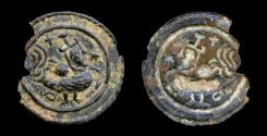 Ancient Coins - SASANIAN AE Copper Plaque.  A Bird with human head