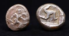 Ancient Coins - PAMPHYLIA, Aspendos, (c.465-430 B.C.), silver stater, , obv warrior advancing right, holding shield and spear, rev. triskeles within incuse square,