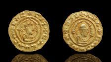 Ancient Coins - AXUM: Ebana, AV 1/3 solidus , crowned bust,
