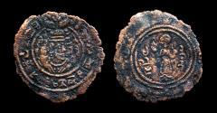 World Coins - Arab-Sasanian al-Hajjaj b.Yusuf 694-713, AE fals, Extremely Rare