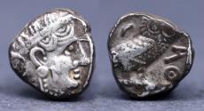 Ancient Coins - South Arabia, Sabaean AR nsf or Unit. Uncertain ruler, circa 350-250 BC. Imitating Athens.