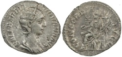 Ancient Coins - Orbiana.  Wife of Severus Alexander.  AD 225 to 227.  Silver denarius.