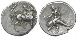 Ancient Coins - TARAS IN CALABRIA. ca 272 to 235 BC. Silver didrachm.
