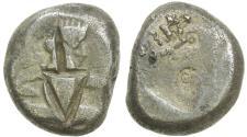 Ancient Coins - Royal Persian Coinage. ca. 375-340 BC. Silver Siglos. Dagger cut over King (unusual)
