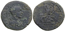 Ancient Coins - Elagabalus, AD 218 to 222, AE 27 from Nicopolis ad Istrum.