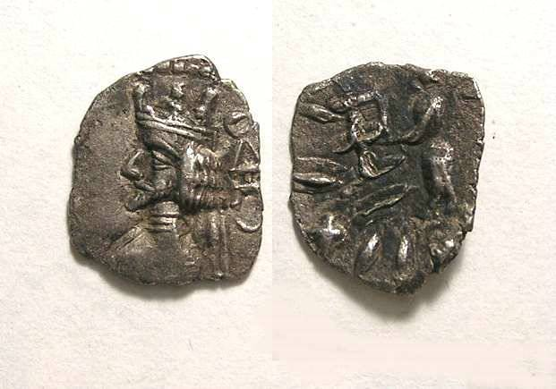 Ancient Coins - Kingdom of Persiss.  Artaxerxes II (also known as Ardashir II), 1st century BC. Silver obol.