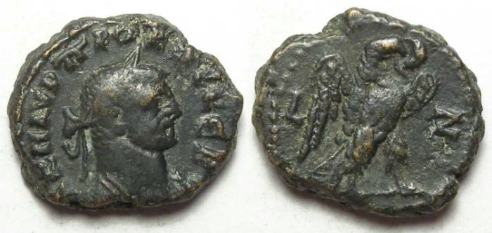 Ancient Coins - Alexandria, Probus, AD 276 to 282, Yr-7 potin tetradrachm. 18.5 mm.