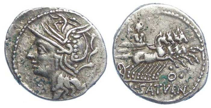 Ancient Coins - Roman Republic. Lucius Appuleius Saturninus. ca. 104 BC. Silver denarius.