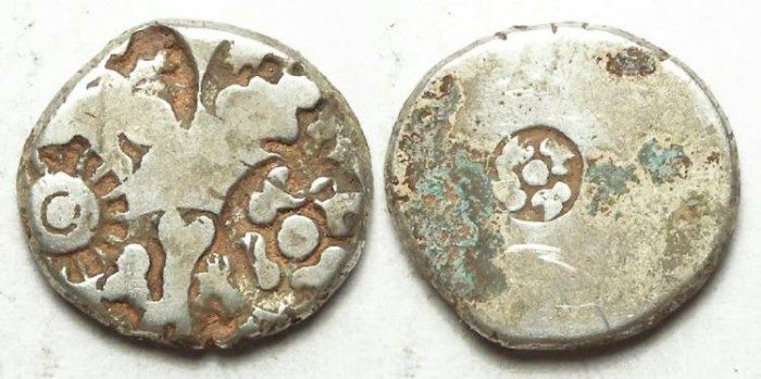 Ancient Coins - India, Mauryan Empire. Punch mark silver. 321 to 187 BC. 16 mm on it's longest dimension.