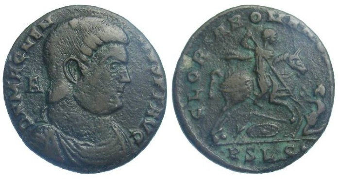 Ancient Coins - Magnentius.  AD 350 to 353.  AE centenionalis.