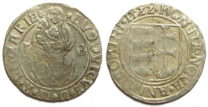 Ancient Coins - Hungary. Ludwig II, AD 1516 to 1526. Silver Groschen. dated 1522.