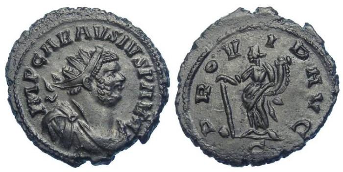 Ancient Coins - Carausius, AD 286 to 293. AE antoninianus.   Very nice specimen.