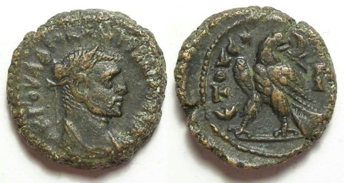 Ancient Coins - Alexandria, Maximianus, AD 286 to 305, Yr-3 potin tetradrachm. 18.5 mm.