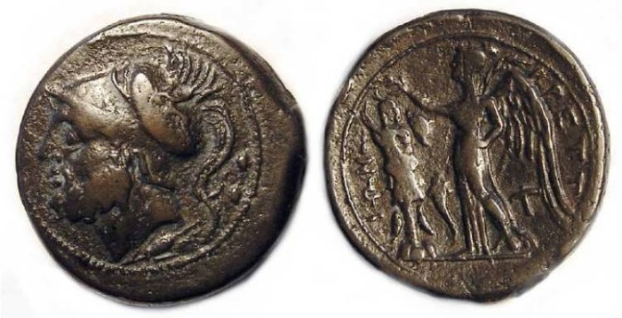 Ancient Coins - Bruttium League.  AE Sextans.  ca. 215 to 205 BC.