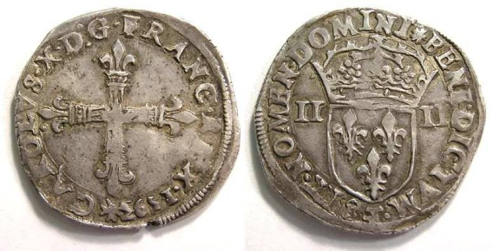 Ancient Coins - France. Charles X, posthumous issue by Henry IV, Silver quart d'ecu.  1593 T