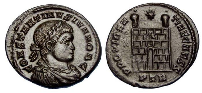 Ancient Coins - Constantine II as Caesar, AD 317 to 337. AE 3.