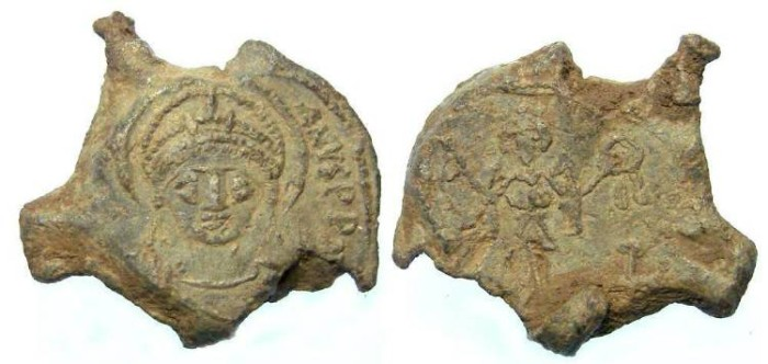 Ancient Coins - Byzantine.  Justinian I, AD 527 to 565. Lead seal impression.