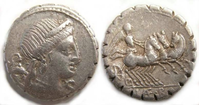 Ancient Coins - Roman Republic. C. Naevius Balbus. ca. 79 BC. Silver denarius.