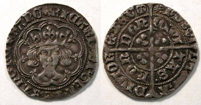 Ancient Coins - English, Richard III, AD 1483 to 1485. Silver groat. An interesting muling of mint marks.