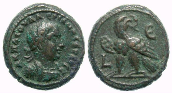 Ancient Coins - Valerian, AD 253 to 260. Alexandrian Billon tetradrachm.