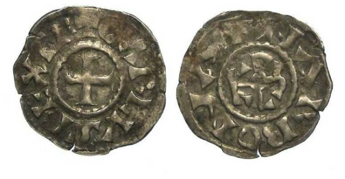 Ancient Coins - Carolingian, Charlemagne. AD 768 to 814.  Silver Denier.  Scarce mint.