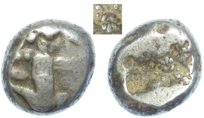 Ancient Coins - Royal Persian Coinage. ca. 450 to 330 BC. Rare type with Lion's scalp on reverse die.