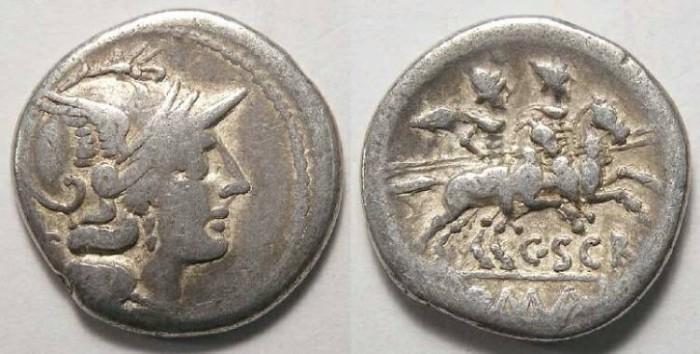 Ancient Coins - C. Scribonius. ca. 154 BC. Silver denarius.