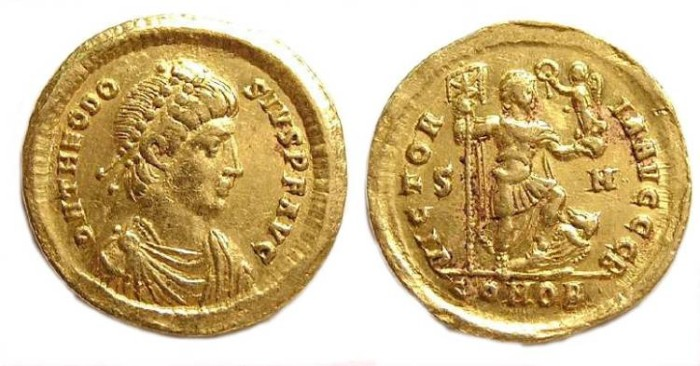 Ancient Coins - Theodosius I, AD 379 to 395. Gold solidus.