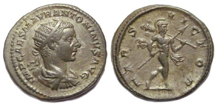 Ancient Coins - Elagabalus, AD 218 to 222. Silver Antoninianus.