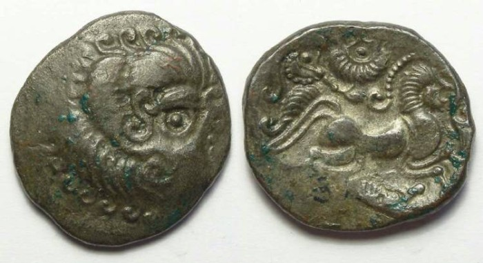 Ancient Coins - Armorican, Coriosolite. ca. 75 to 50 BC. Billon stater.