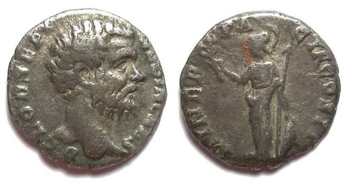Ancient Coins - Clodius Albinus as Caesar, AD 193-195.  Silver denarius.