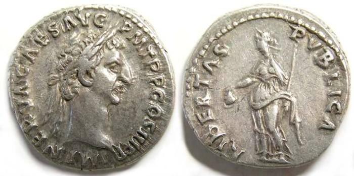 Ancient Coins - Nerva. AD 96 to 98, Silver denarius.