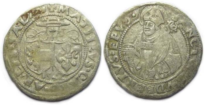 Ancient Coins - Austria. Salzburg. Matthaus Lang von Wellenburg, AD 1522. Silver Batzen.