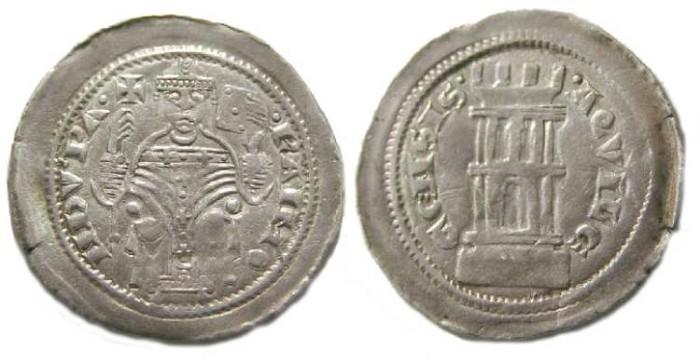 Ancient Coins - Italy, Aquilea.  Raimondo della Torre, AD 1273 to 1299. Silver Denaro