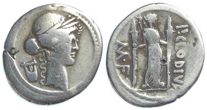 Ancient Coins - Roman Republic. P. Clodius M.f. Turrinus.  ca. 42 BC. Silver denarius.