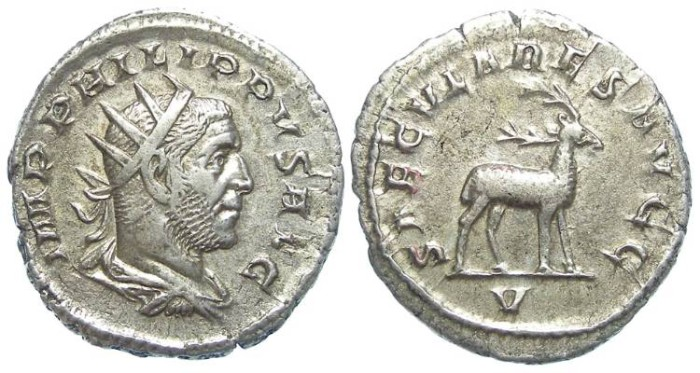 Ancient Coins - Philip I, AD 244 to 249. Silver Antoninianus. 1000 th anniversary series.