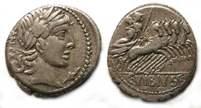 Ancient Coins - L. Vibius C.f. Pansa. ca. 90 BC. Silver denarius.