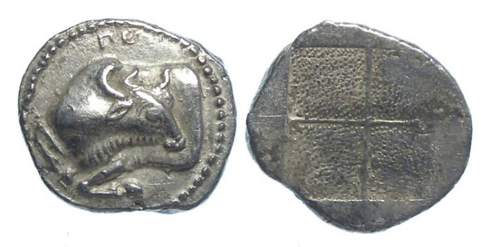 Ancient Coins - Akanthos in Macedonia. ca. 470 to 390 BC. Silver tetrobol.