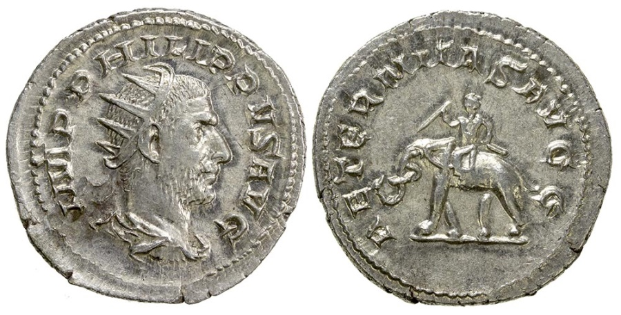 Ancient Coins - Philip I, AD 244-249. Silver Antoninianus. millennium series.  Large flan, well centered.