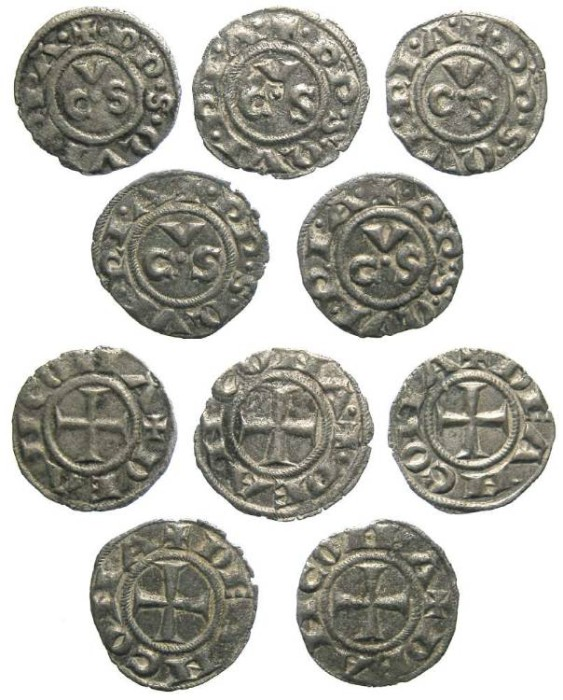 Ancient Coins - Italy, Ancona. 13th to 15th century Anonymous billon denaro. DEALER LOT OF 5 COINS.