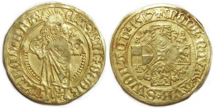 Ancient Coins - Germany. Brandenburg-Franconia.  Kasimir and Georg, AD 1515 to 1527.  Goldgulden.  AD 1517.