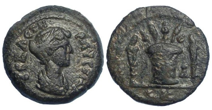 Ancient Coins - Faustina Jr. under Antoninus Pius.  AD 147 to 161.  AE obol of Alexandria in Egypt.  Extremely rare.