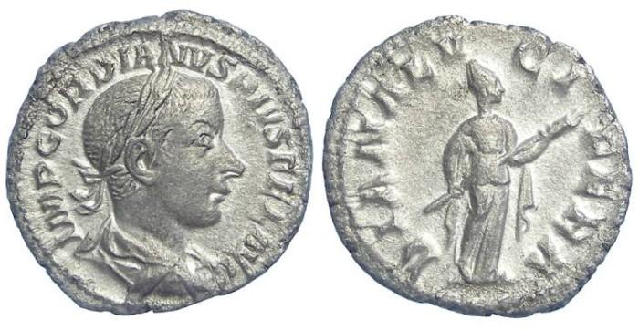 Ancient Coins - Gordian III, AD 238-244. Silver denarius.