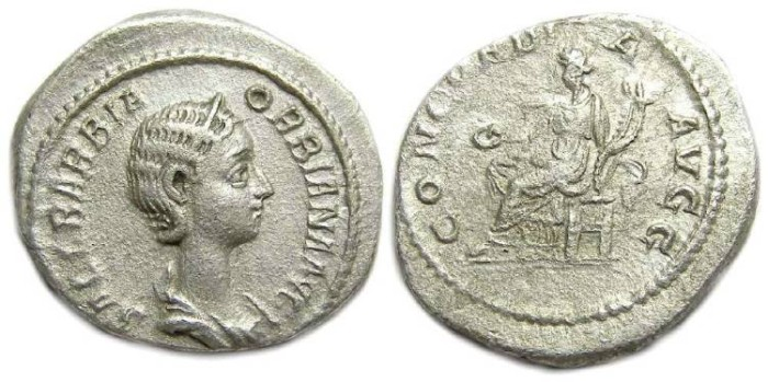 Ancient Coins - Orbiana, AD 225 to 227.  AR denarius.