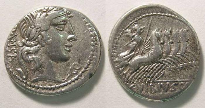 Ancient Coins - Roman Republic. L. Vibius C.f. Pansa. ca. 90 BC. Silver denarius.