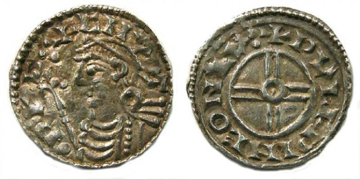 Ancient Coins - Britian, Anglo-Saxon. Cnut, AD 1016 to 1035. Silver penny.
