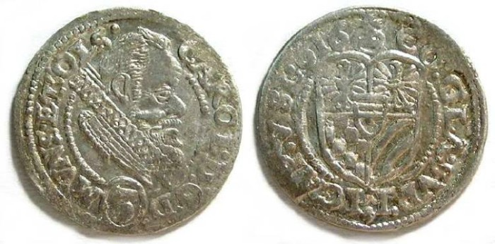 Ancient Coins - German States, Munsterberg-oels. Silver 3 Kreuzer of 1616.