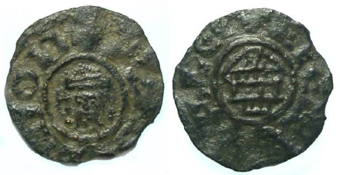 Ancient Coins - Crusader Kingdom of Jerusalem. Guy de Lusignan, AD 1186 to 1190. AE fractional denier. RARE TYPE.