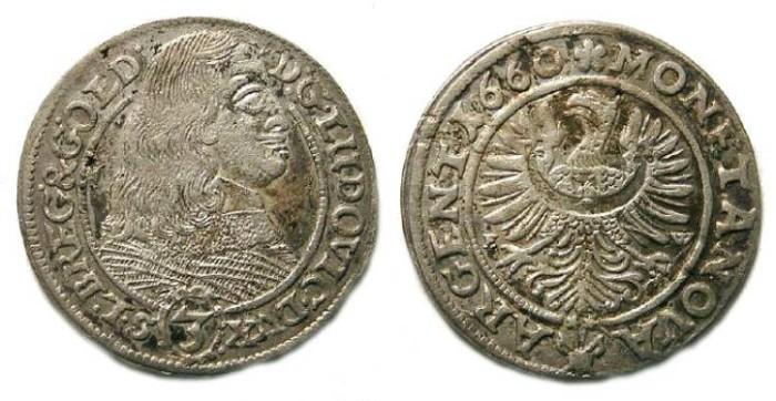 Ancient Coins - Germany, Silesia-Liegnitz-Breg.  3 Kreuzer of 1660.