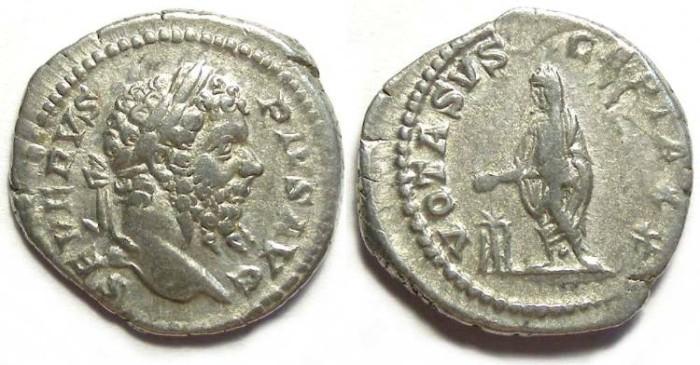 Ancient Coins - Septimius Severus, AD 193 to 211 . Silver denarius.